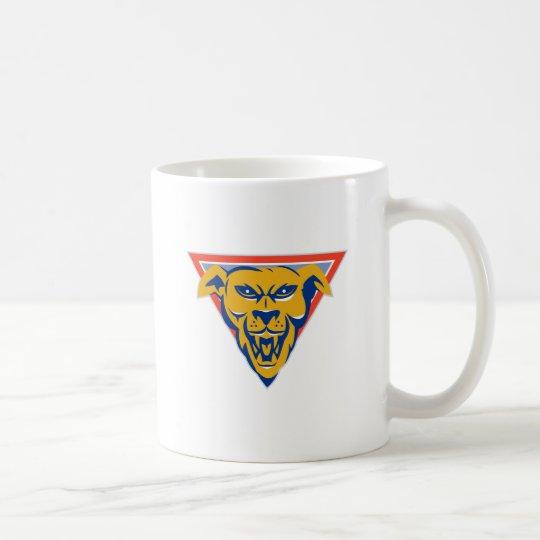 angry wild dog wolf head triangle coffee mug