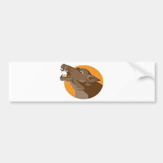 angry wild pig head retro bumper sticker