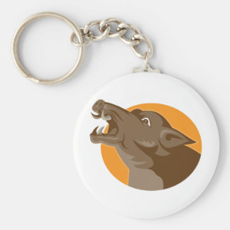 angry wild pig head retro keychain