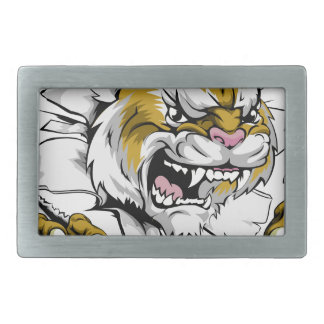 Angry wildcat sports mascot belt buckles
