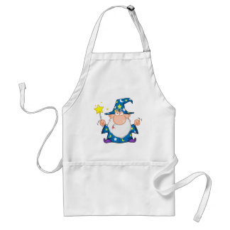 Angry Wizard Waving With Magic Wand Adult Apron