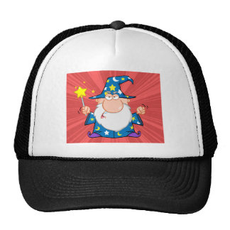 Angry Wizard Waving With Magic Wand Trucker Hat