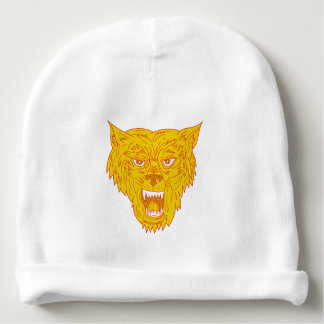 Angry Wolf Head Mono Line Baby Beanie