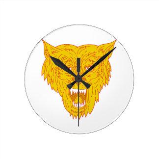 Angry Wolf Head Mono Line Round Clock