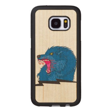 Halloween Themed Angry Wolf Illustration Wood Samsung Galaxy S7 Case