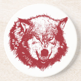 Angry Wolf in Red Drink Coaster