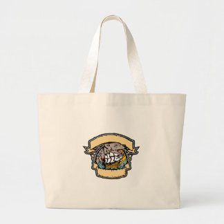 Angry Wolf Pirate Ship Banner Retro Large Tote Bag
