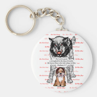 Angry Wolf Puppy - Do Not Fear - #2 Fear Red.png Basic Round Button Keychain