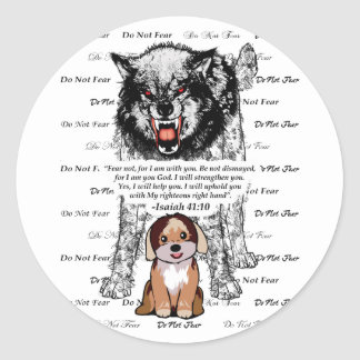 Angry Wolf Puppy - Do Not Fear - #5 FaithTrust Bla Classic Round Sticker