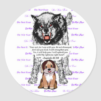 Angry Wolf Puppy - Do Not Fear - #5 FaithTrust Pur Classic Round Sticker