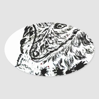 Angry Wolf Sketch2 Oval Sticker