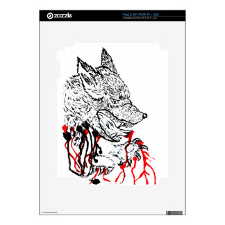 Angry Wolf Sketch iPad 2 Decal