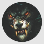 angry wolf stiker :) classic round sticker