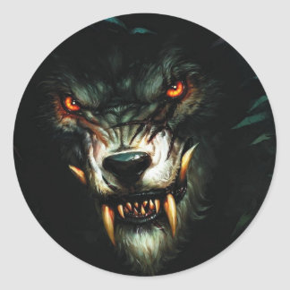 angry wolf stiker :) classic round sticker