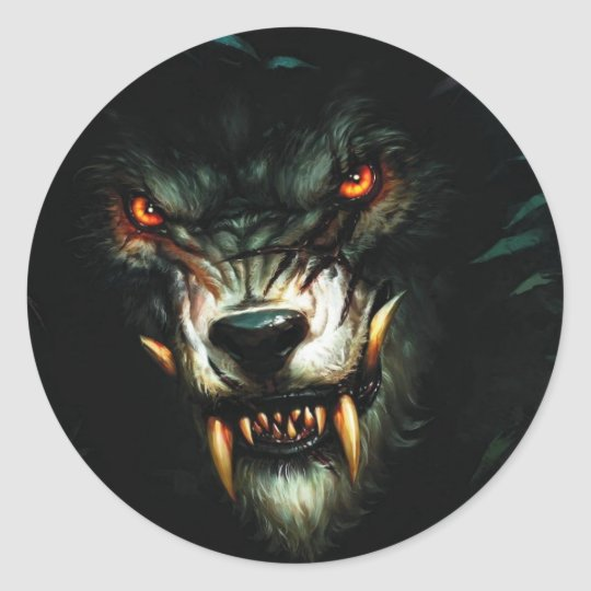 Angry wolf stiker classic round sticker