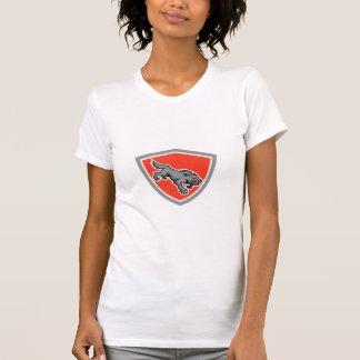 Angry Wolf Wild Dog Stalking Shield Retro T Shirt