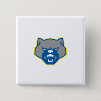 Angry Wolverine Head Front Retro Pinback Button