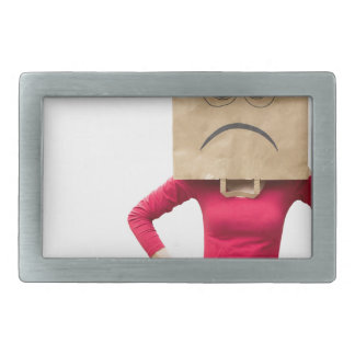 Angry woman rectangular belt buckle