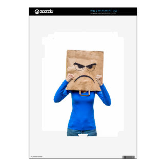 Angry woman showing fists skins for iPad 2