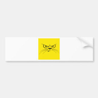 Angry Yellow Kitty Face Bumper Sticker