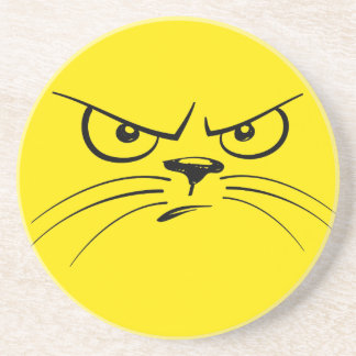 Angry Yellow Kitty Face Coaster
