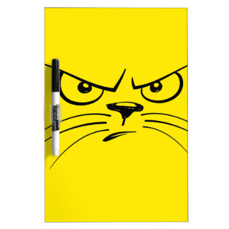 Angry Yellow Kitty Face Dry Erase Board