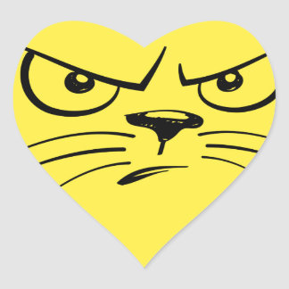 Angry Yellow Kitty Face Heart Sticker