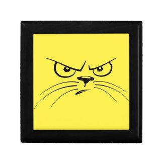 Angry Yellow Kitty Face Keepsake Box