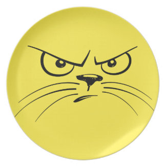 Angry Yellow Kitty Face Melamine Plate