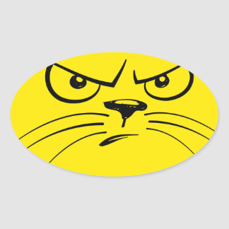 Angry Yellow Kitty Face Oval Sticker