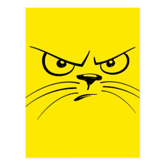 Angry Yellow Kitty Face Postcard