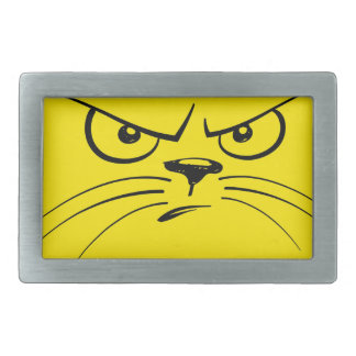 Angry Yellow Kitty Face Rectangular Belt Buckle