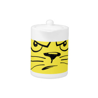 Angry Yellow Kitty Face Teapot