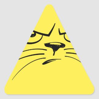Angry Yellow Kitty Face Triangle Sticker