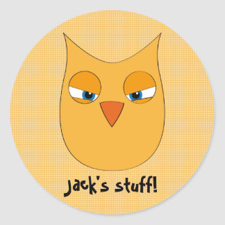 Angry Yellow Owl - Customizable text! Round Sticker
