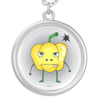 Angry yellow paprika round pendant necklace