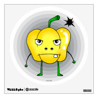 Angry yellow pepper wall decal