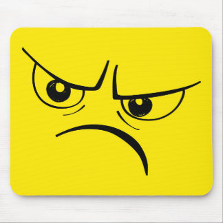 Angry Yellow Smiley Face Mouse Pad