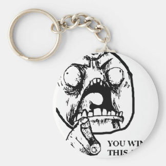 Angry You Win This Time Face Keychain