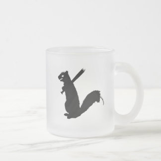 Angry Zombie Squirrel Collection Frosted Glass Coffee Mug