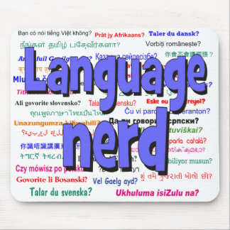 anguage nerd and background blue mouse pad