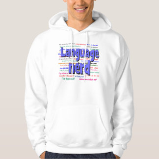 anguage nerd and background blue sweatshirt