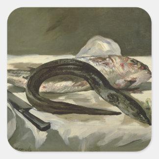 Anguila y salmonete rojo, 1864 pegatinas cuadradas