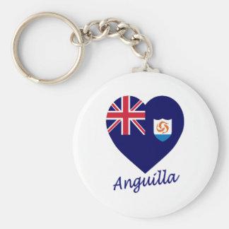 Anguilla Flag Heart Basic Round Button Keychain