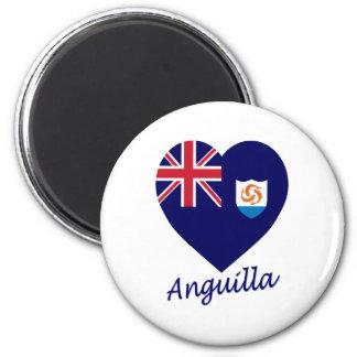 Anguilla Flag Heart 2 Inch Round Magnet