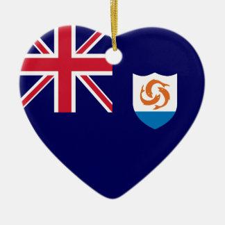 Anguilla Flag Heart Christmas Ornament