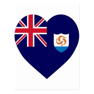 Anguilla Flag Heart Postcard