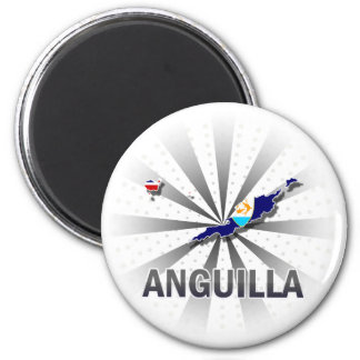 Anguilla Flag Map 2.0 2 Inch Round Magnet