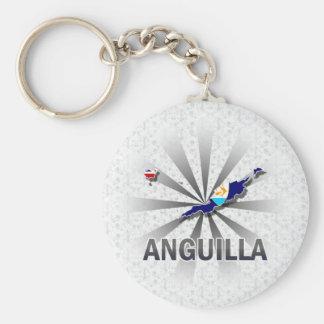 Anguilla Flag Map 2.0 Key Chain