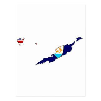 Anguilla flag map postcard